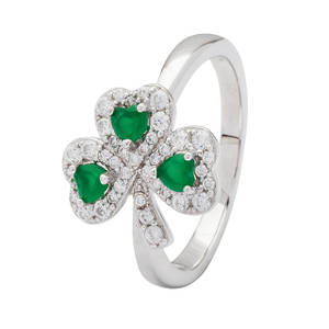 Silver Green Agate Cz Shamrock Ring
