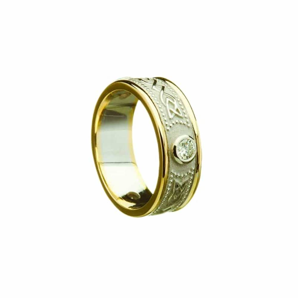 10 ct white gold warrior shield ladies band with diamonds