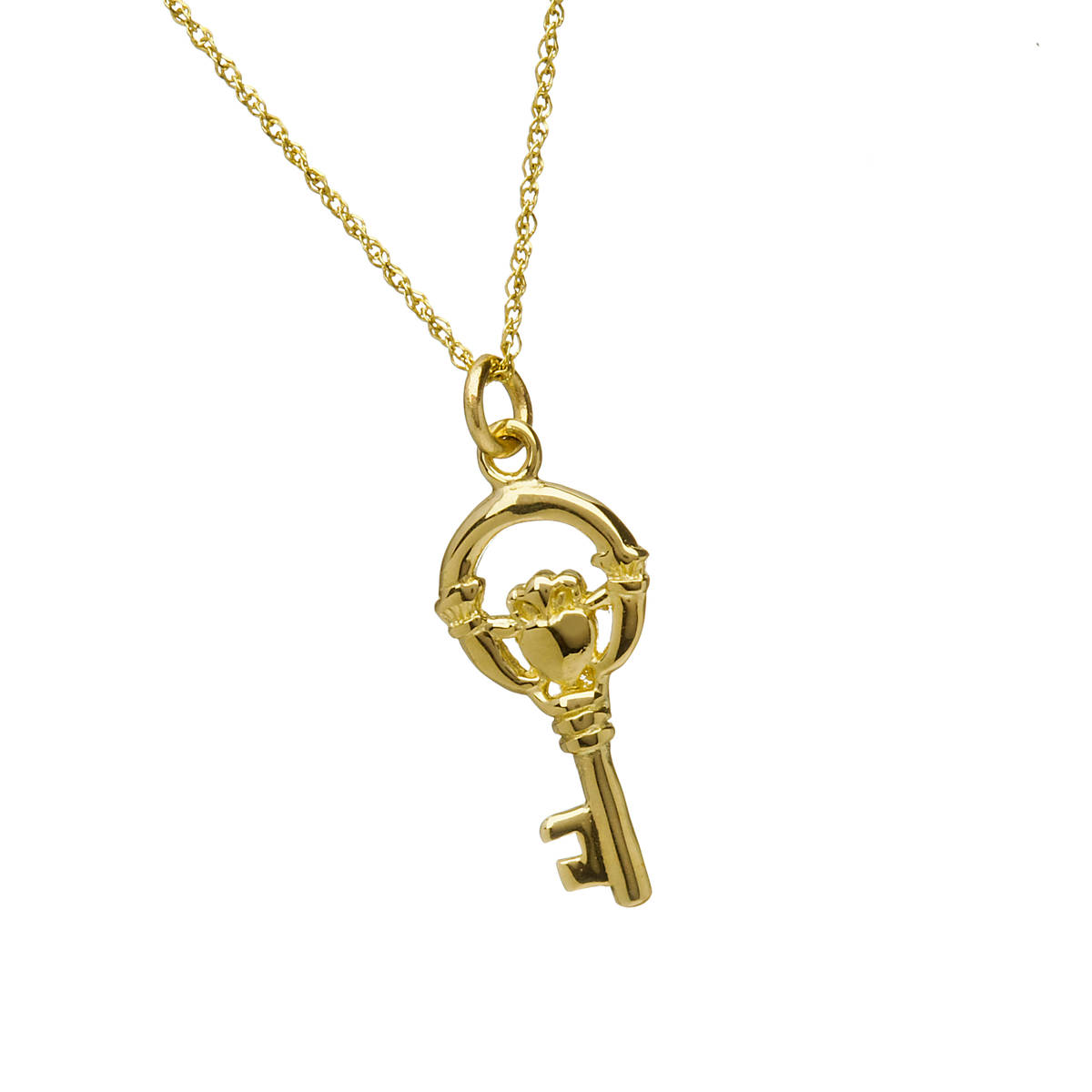 10 carat Claddagh key charm pendant