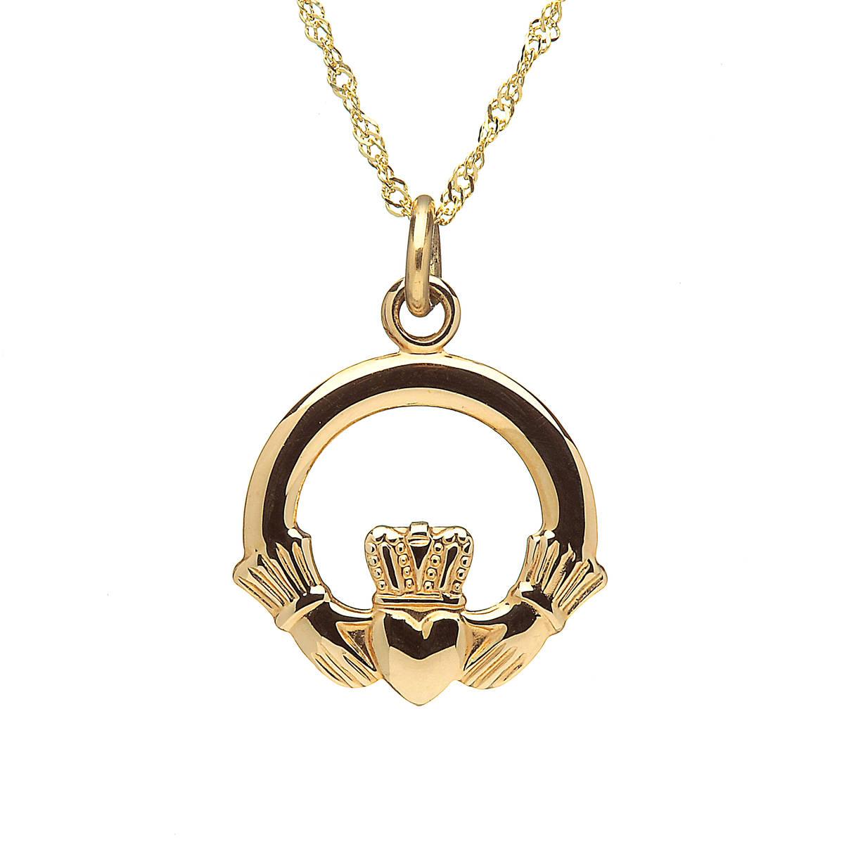 10 carat yellow gold claddagh charm on chain.