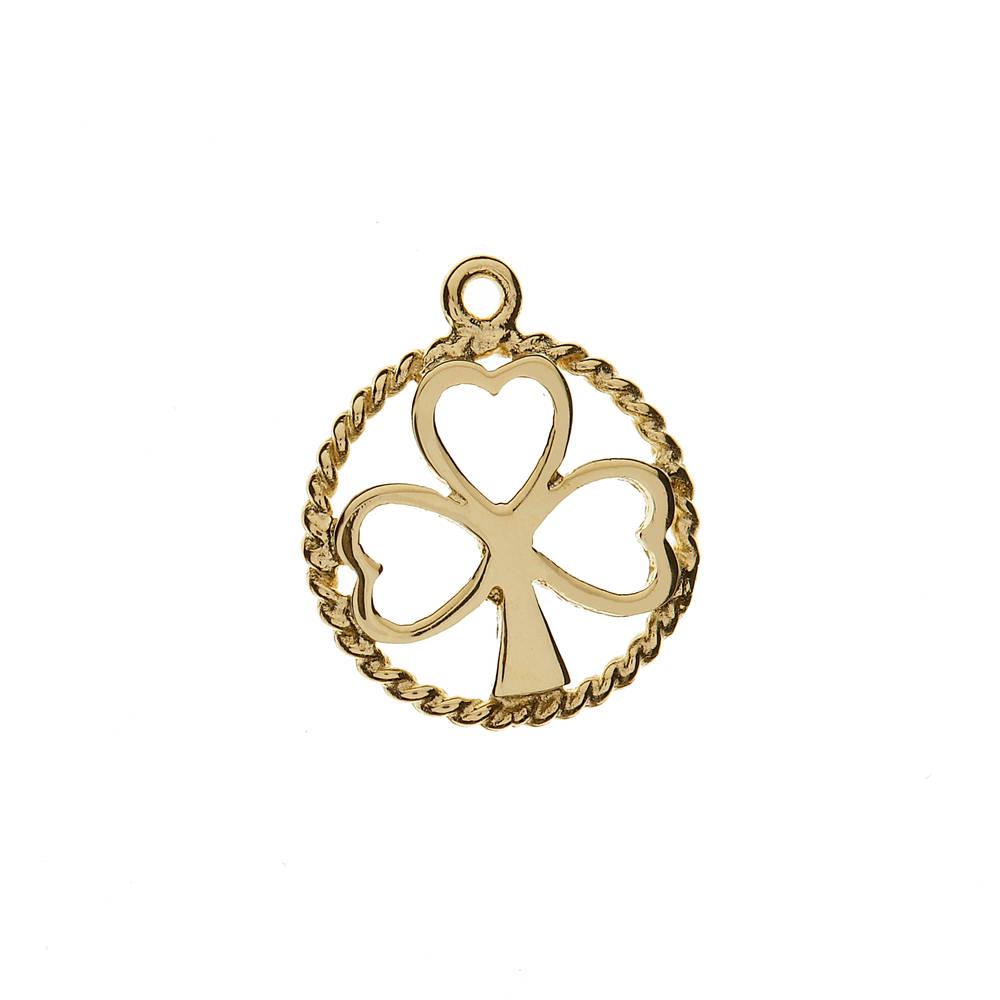 10 carat yellow gold open shamrock charm
