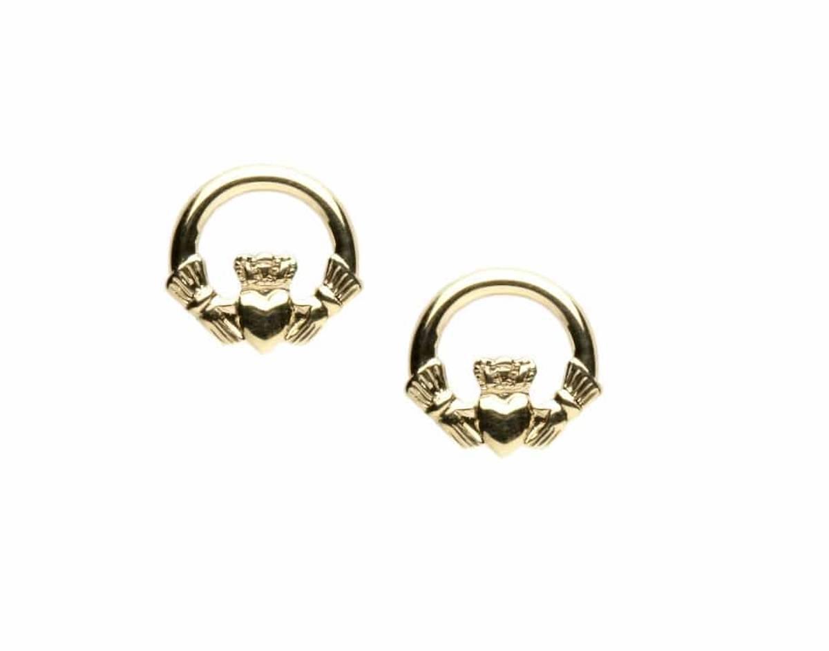 10carat yellow gold claddagh stud earrings