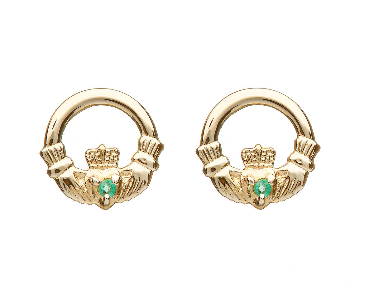 10 carat yellow gold claddagh stud earrings with emeralds.