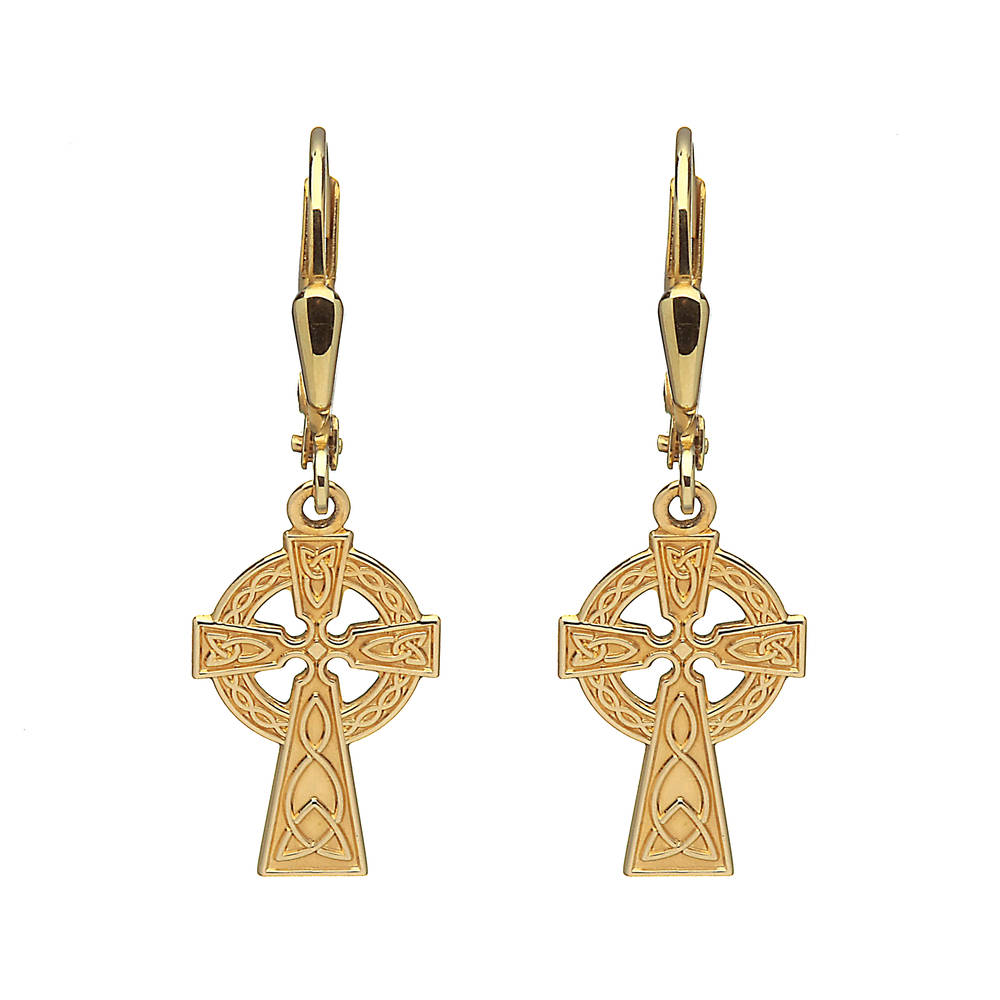 10carat yellow gold celtic cross drop earrings 30mm high and 10mm wide