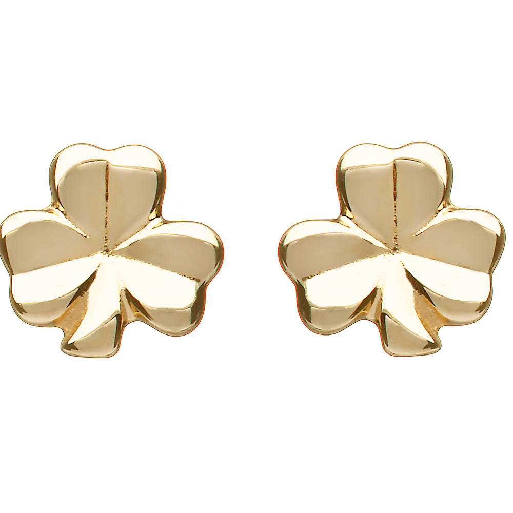 10 carat yellow gold small solid shamrock earrings