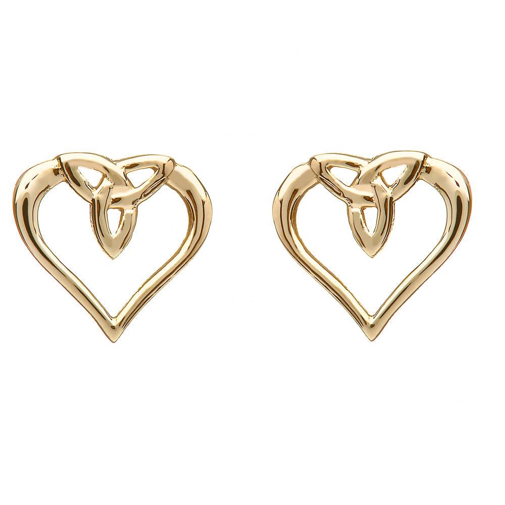 10 carat yellow gold celtic heart earrings
