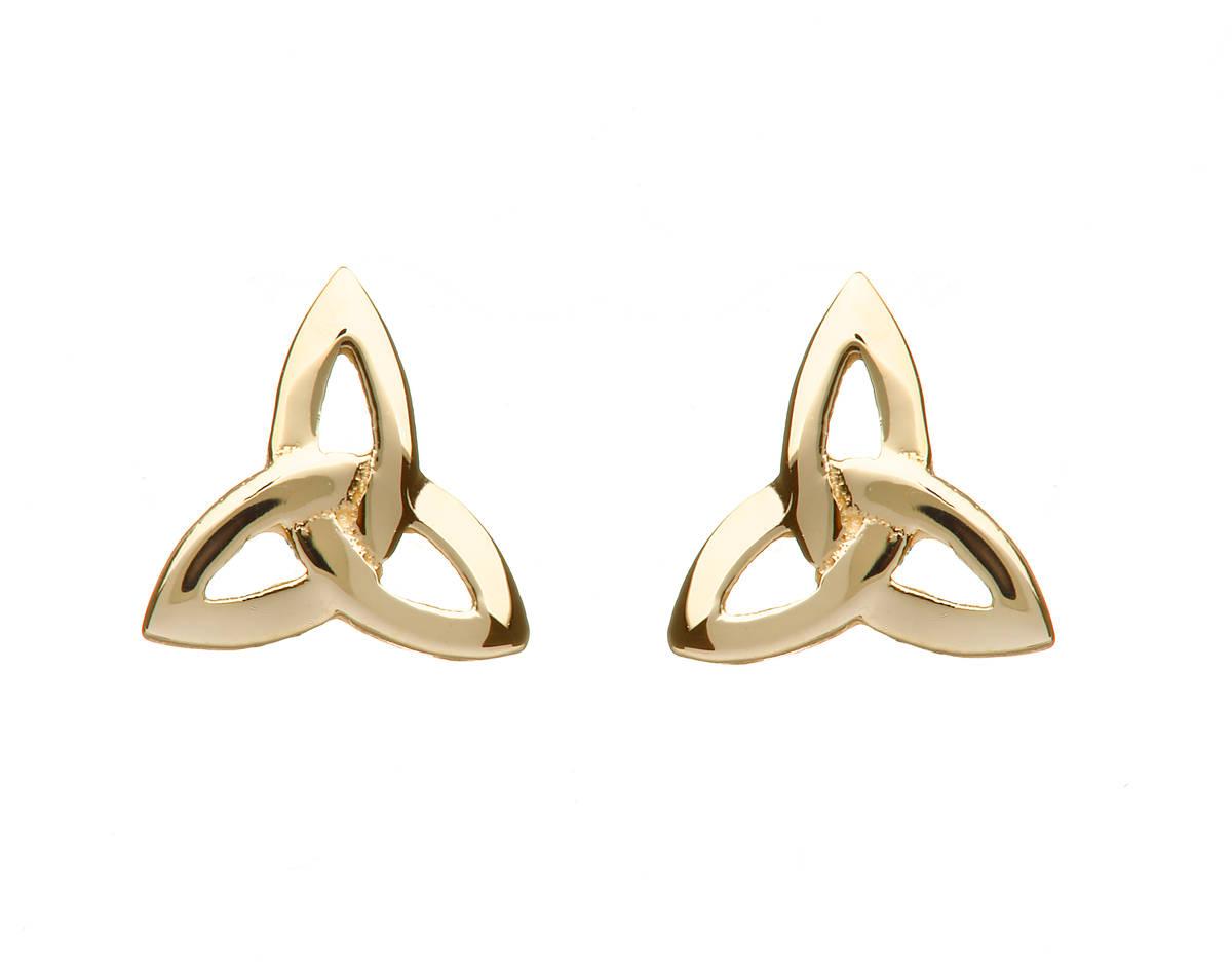 10 carat yellow gold trinity knot earrings