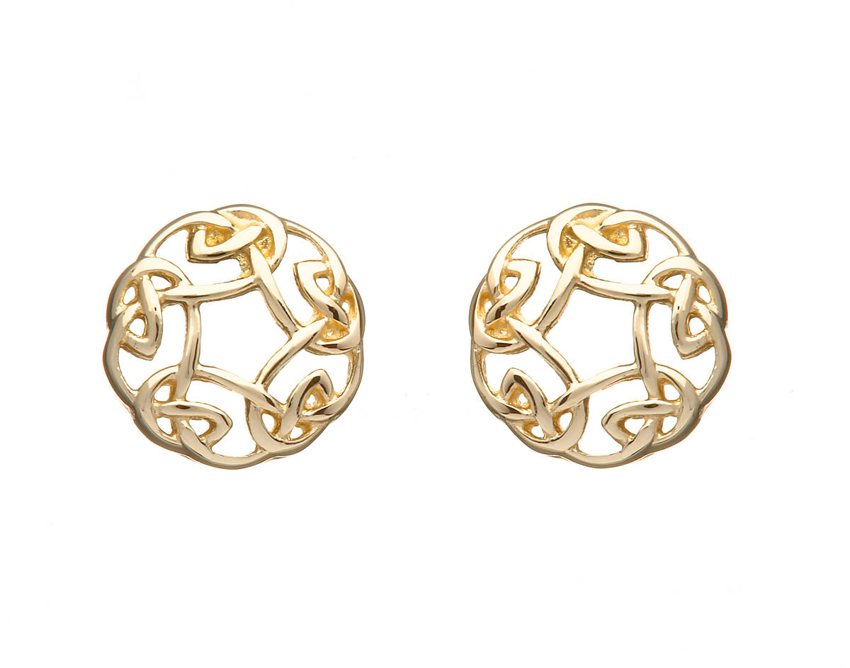 10 carat gold Celtic circle stud earrings