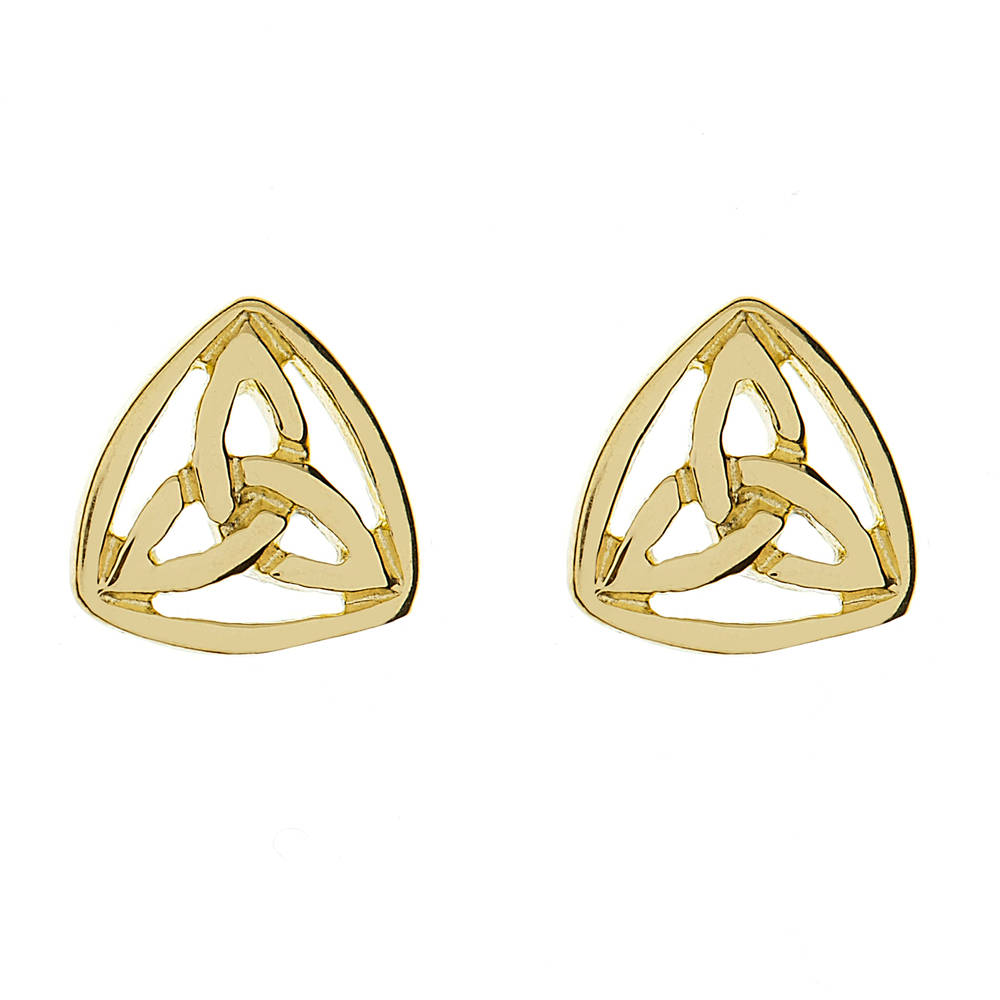 10 carat yellow gold celtic trinity knot stud earrings