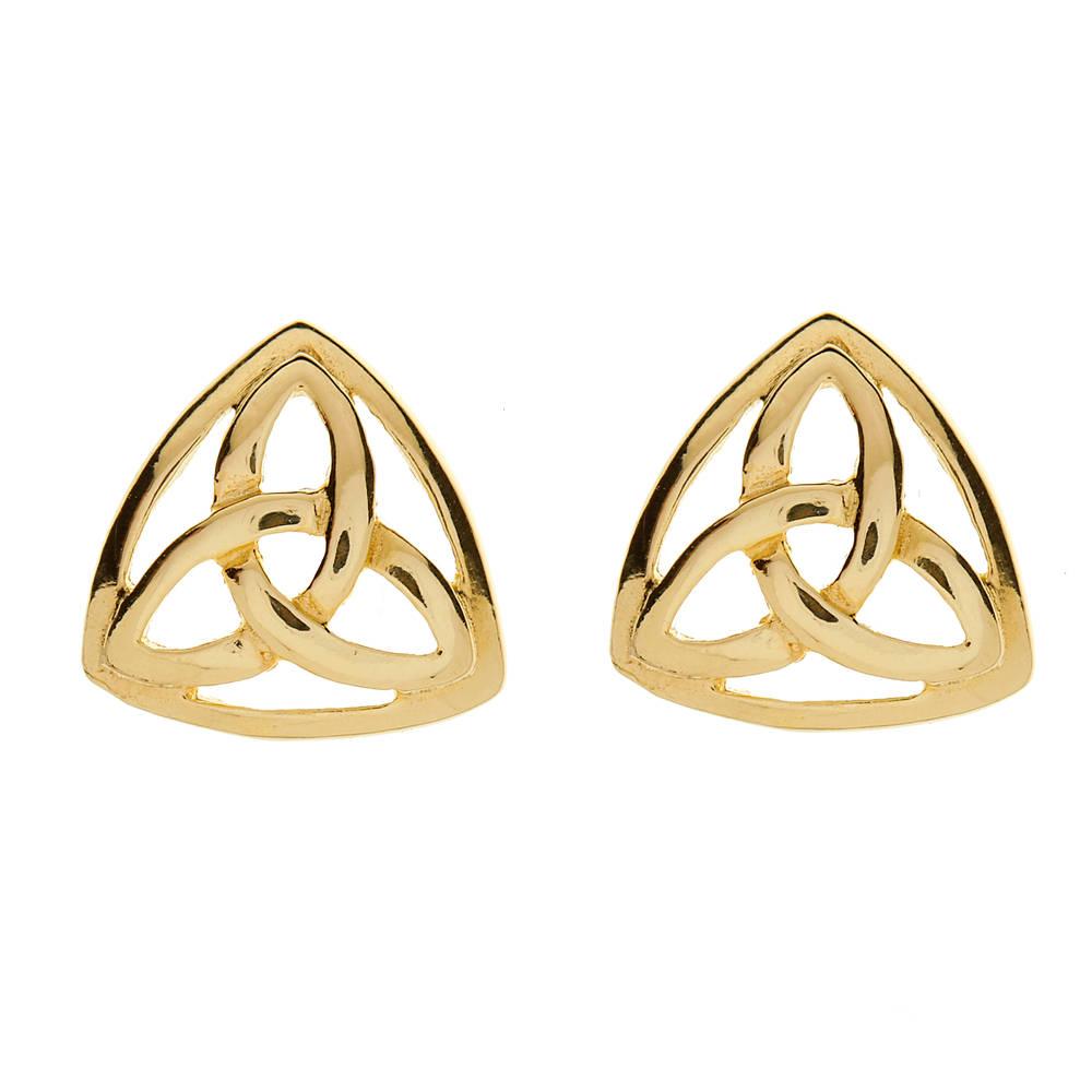 10 carat yellow gold heavy enclosed trinity knot stud earrings