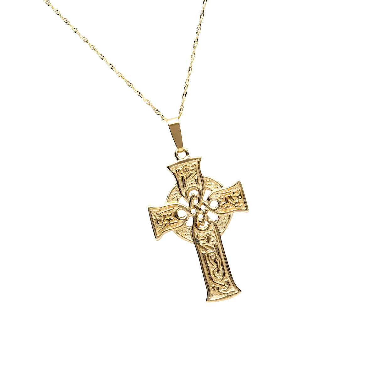 10 carat yellow gold carved scripture cross pendant.