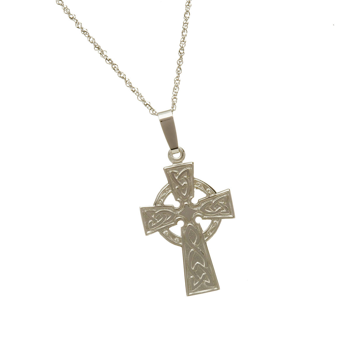 10 carat white gold celtic cross pendant.