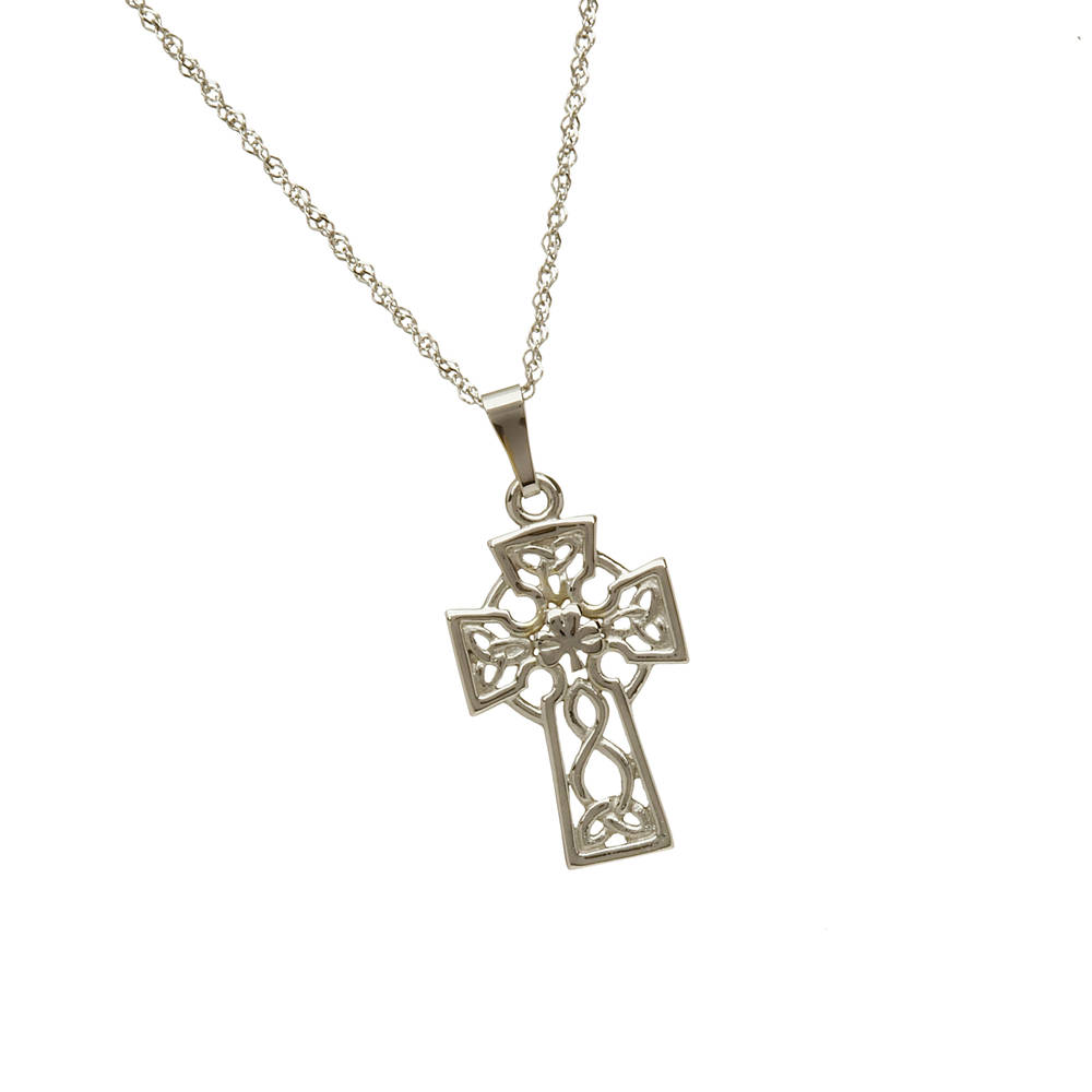 10 carat white gold filigree celtic cross pendant.