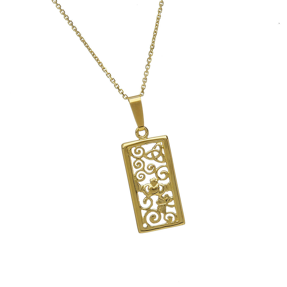 10 carat yellow gold oblong celtic knot filigree pendant.Beautiful detail.Can you see the Claddagh,celtic knot and shamrock.If required in white or rose gold ,let us know in the comment box on checkout.