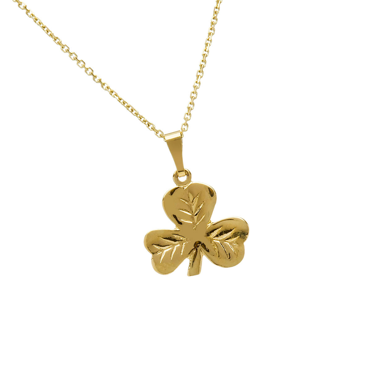 "10 carat yellow gold shamrock pendant on 18"" chain."