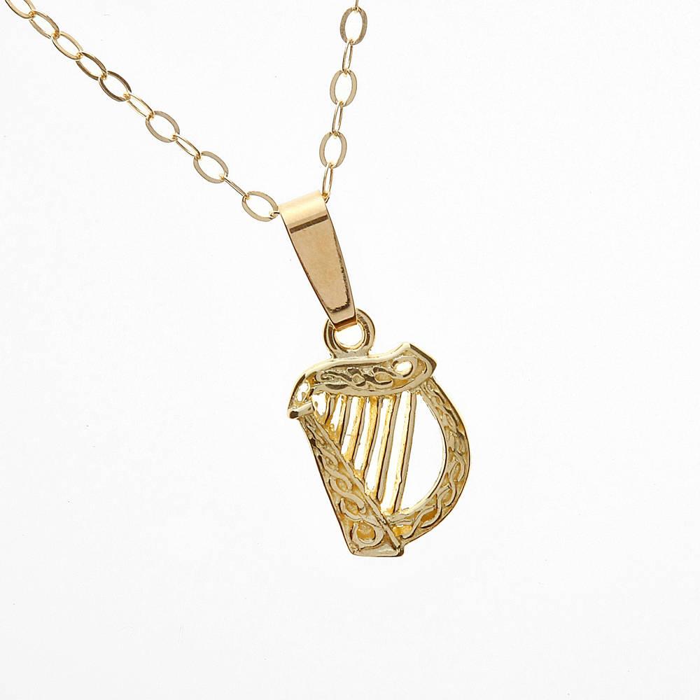 "10 carat yellow gold Harp on 18\"" chain pendant"