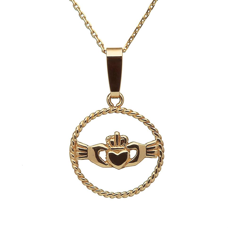 10 carat yellow gold claddagh twist pendant