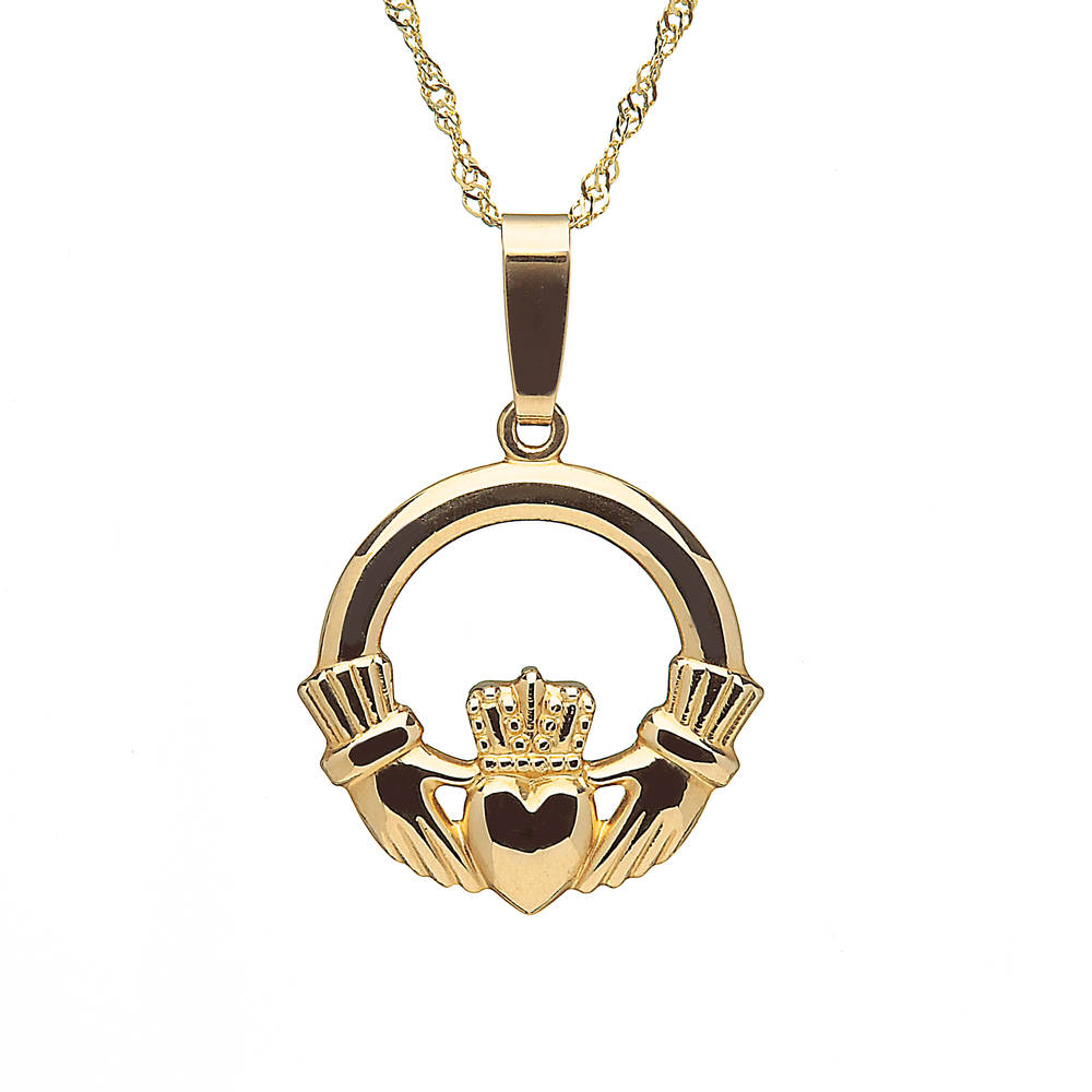 10 carat yellow gold claddagh pendant