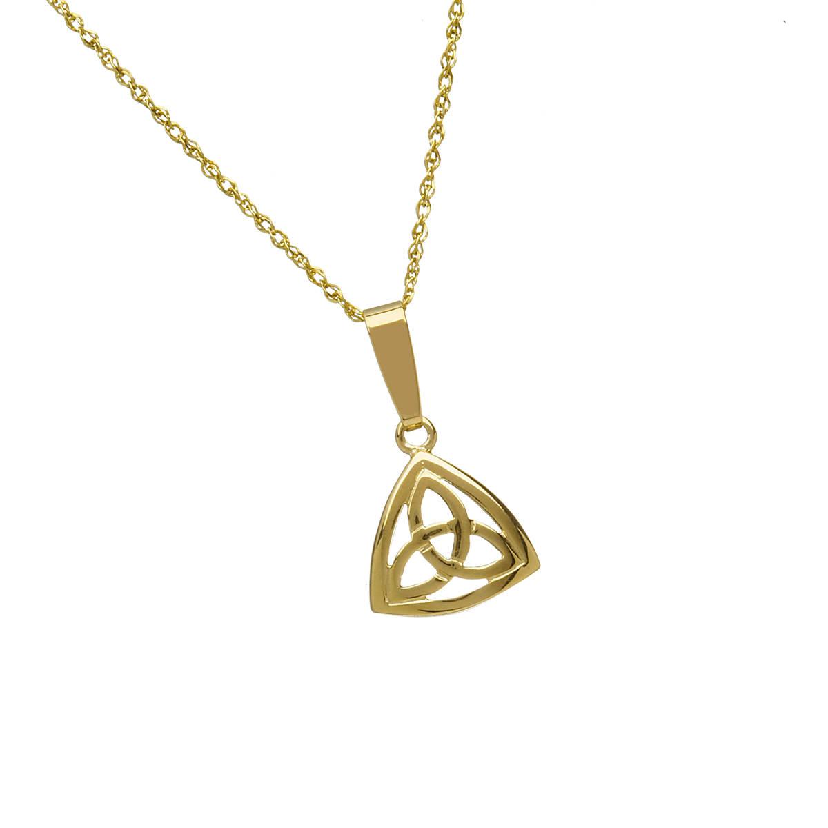 10 carat yellow gold trinity knot pendant with bezel.