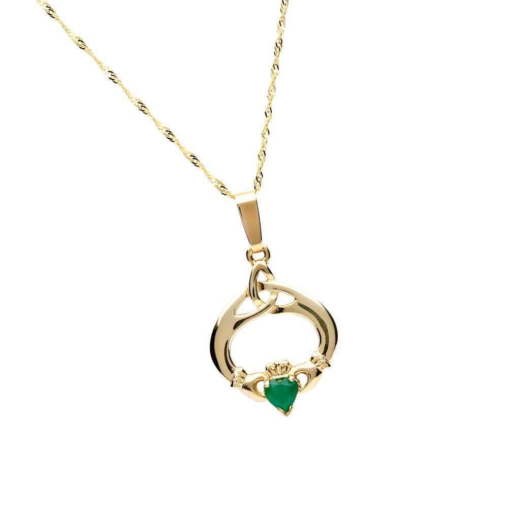 10 carat yellow gold tear drop trinity knot claddagh pendant with emerald