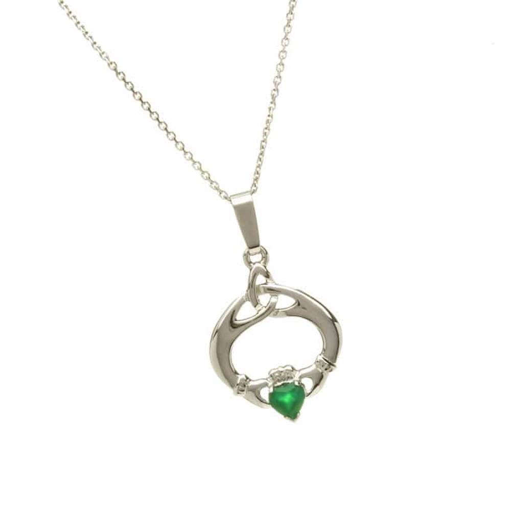 10 carat white gold Claddagh tear drop trinity knot pendant