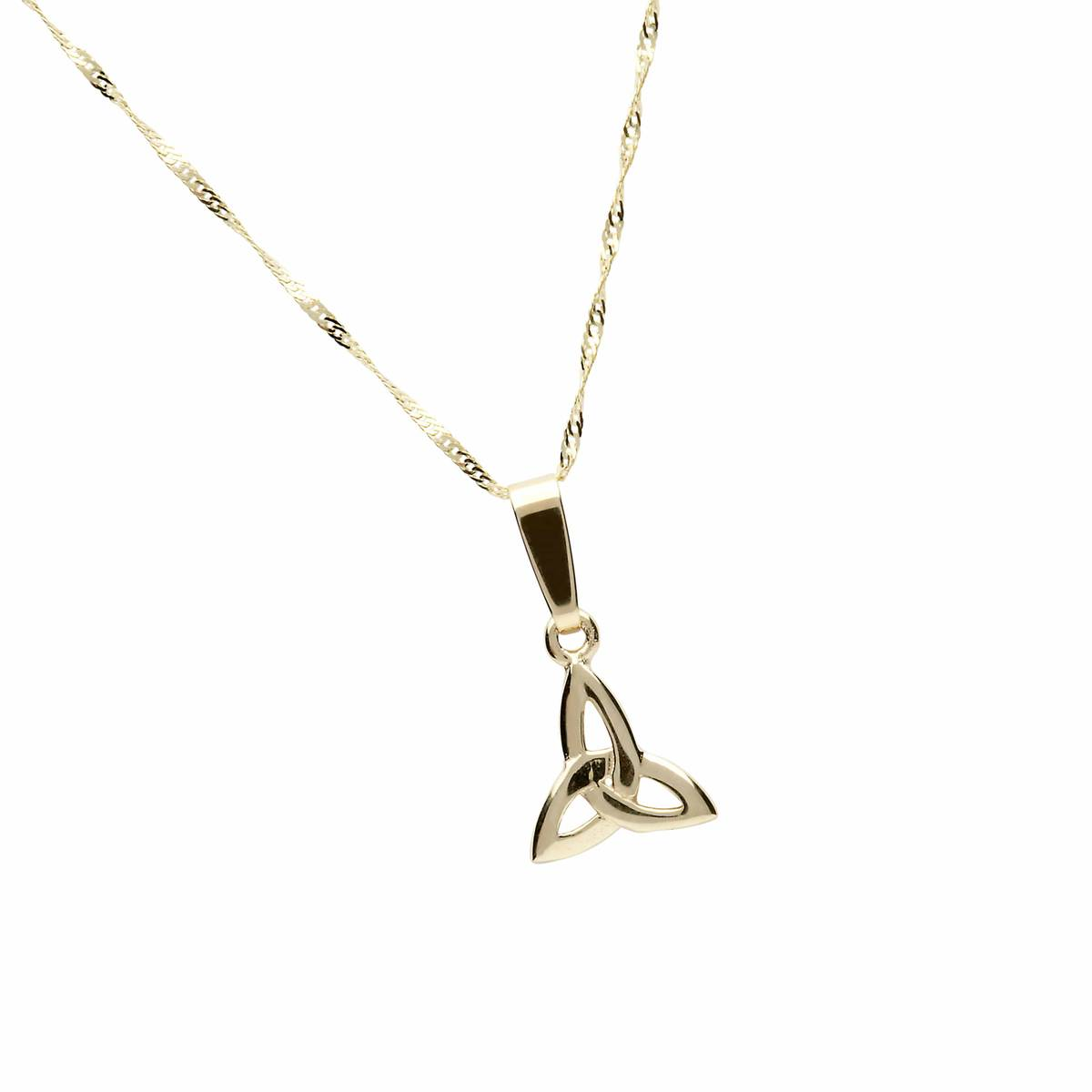 "10 carat yellow gold classic trinity knot pendant on 18"" chain."