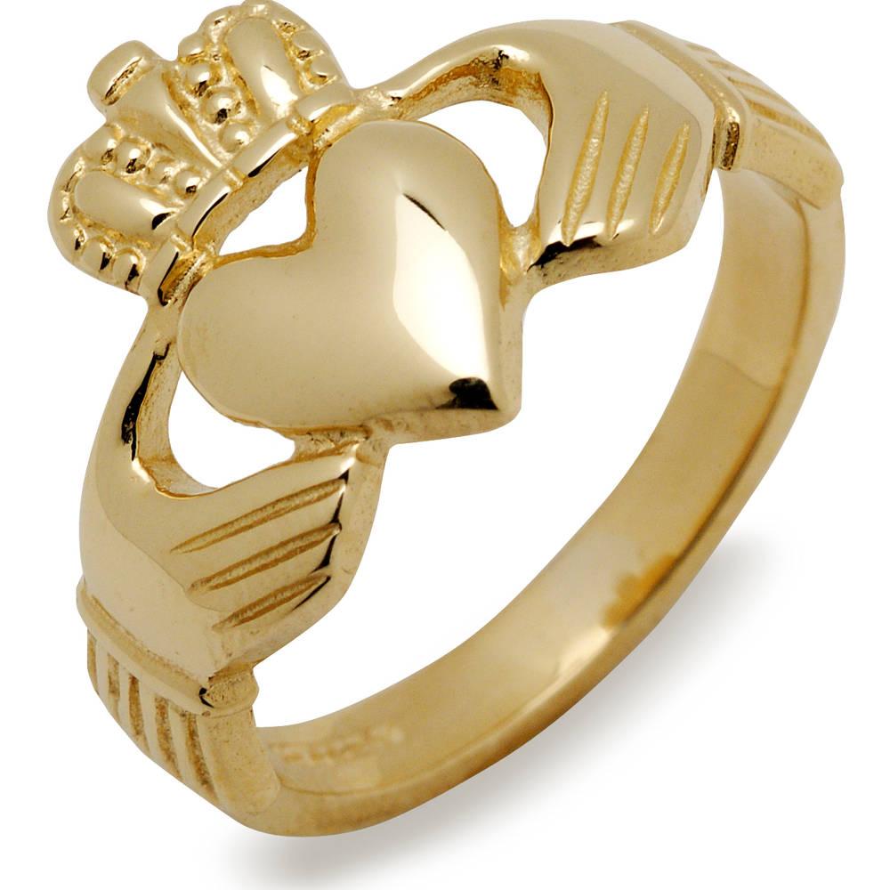 10 carat yellow gold heavy Claddagh ring
