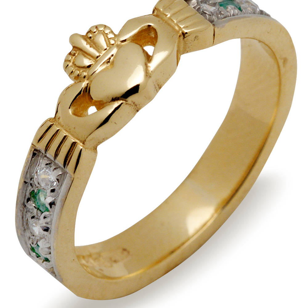 10 ct gold Claddagh/cz and emerald ring