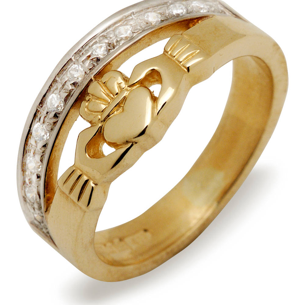 10 carat yellow gold cz Claddagh double band