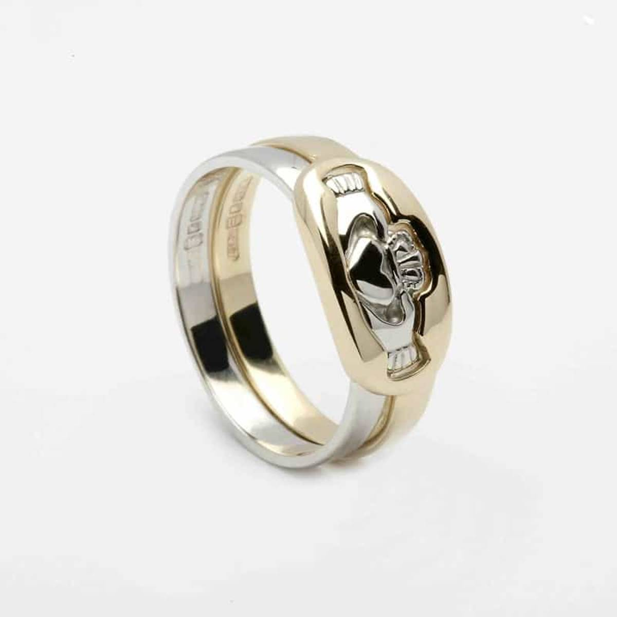 10 carat gold 2-part claddagh rings set