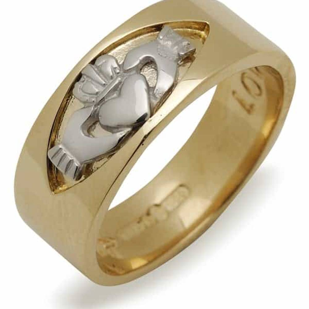 10 carat yellow gold large size Claddagh band with white gold insert.