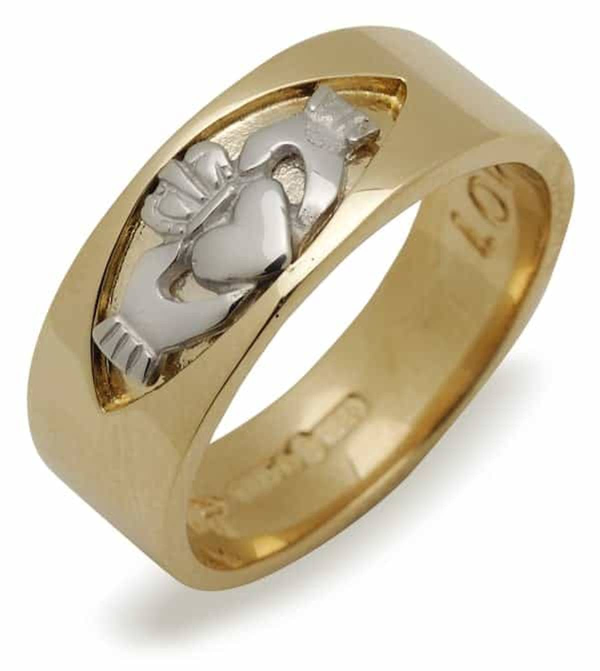 10 carat yellow gold Claddagh band with white gold insert in larger size