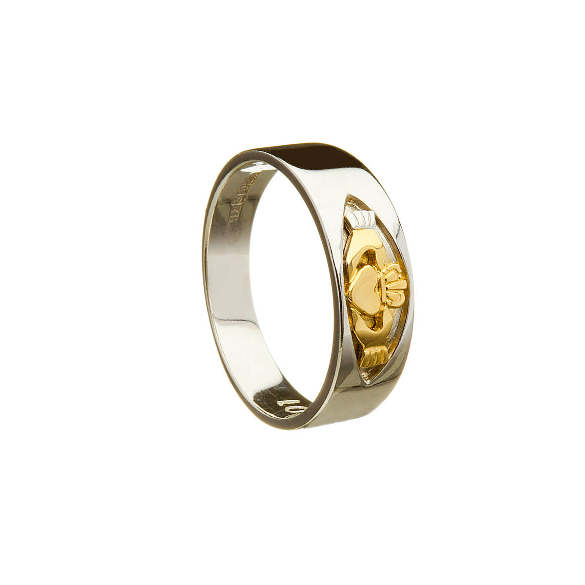 10ct W/gold Mans Band With Y/gold Claddagh Insert Claddagh Motto Engraved Inside   10 carat white and yellow gold band with claddagh design in window in a very unique design.Very stylish and different and sure to be treasured.