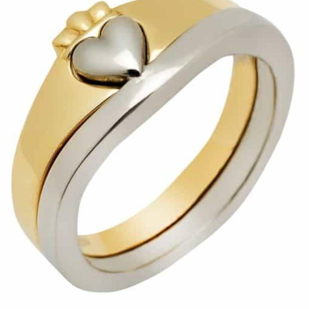 10 carat gold 2-part heavy Claddagh rings set