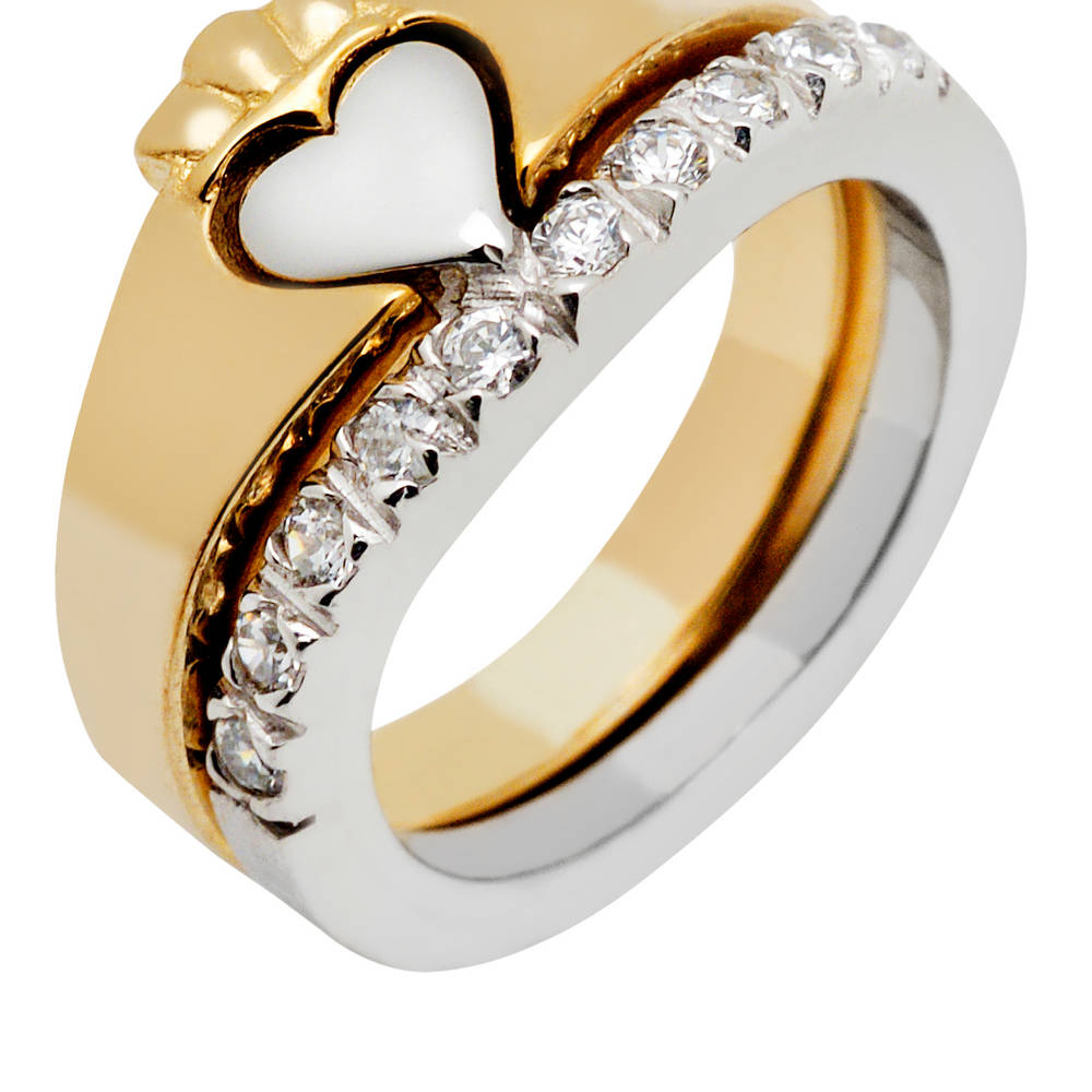 10 carat gold 2-part CZ Claddagh ring set