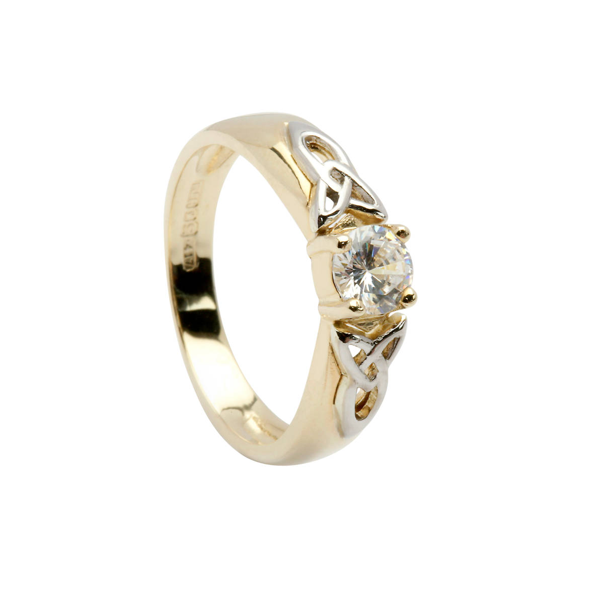 10 ct yellow gold cz solitaire ring with knot detail