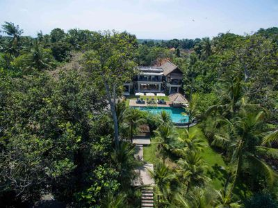Seseh Beach Villa II - The villa and gardens from above