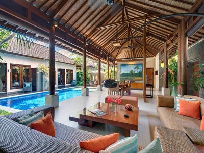 2. Lakshmi Villas - Toba - Living area view to pool