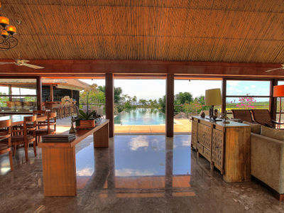 Indah Manis - Living and dining view across the pool