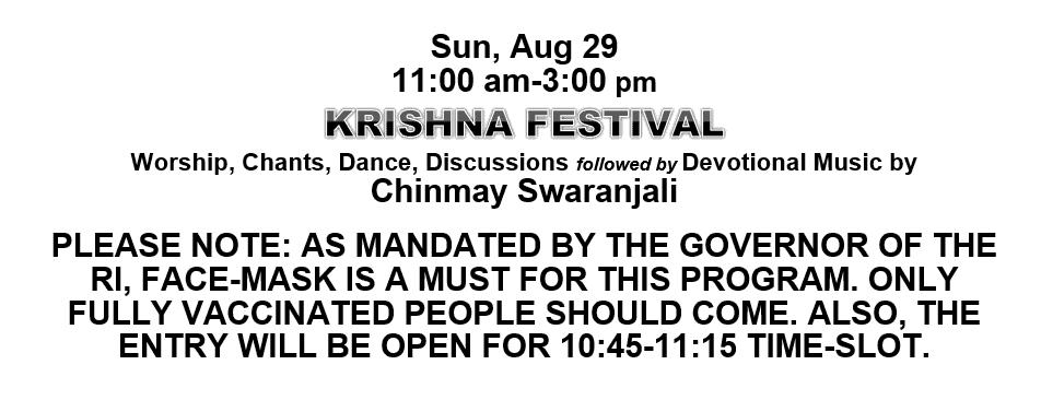 KRISHNA FESTIVAL COVID MANDATES