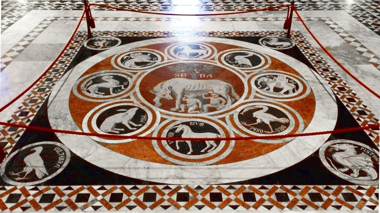 Duomo di Siena, Mosaico pavimentale della lupa di Siena tra i simboli delle città alleate
