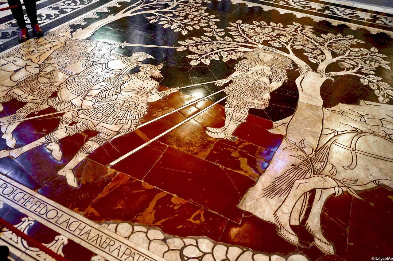 Episodi biblici allegorici, narrati nel pavimento del Duomo di Siena