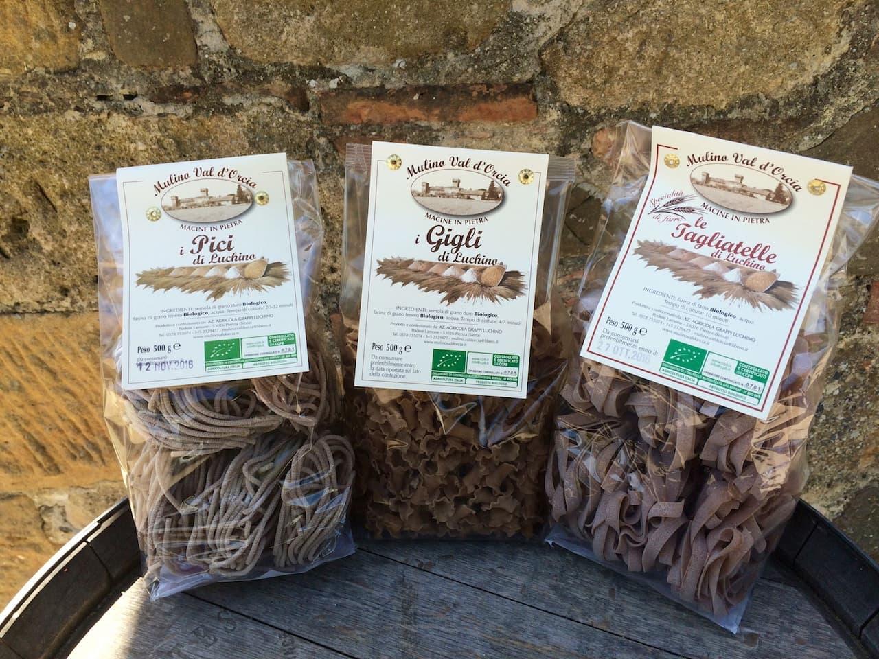 Alcuni formati di pasta del mulino Val d'Orcia