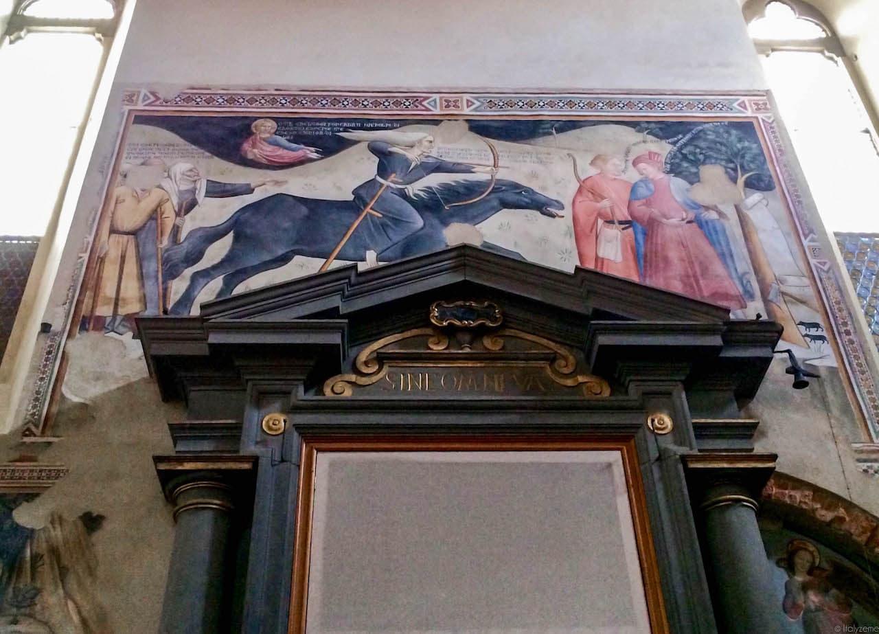 """L'affresco noto col nome di """"Trionfo della morte"""" e custodito nella Chiesa di San Francesco"""