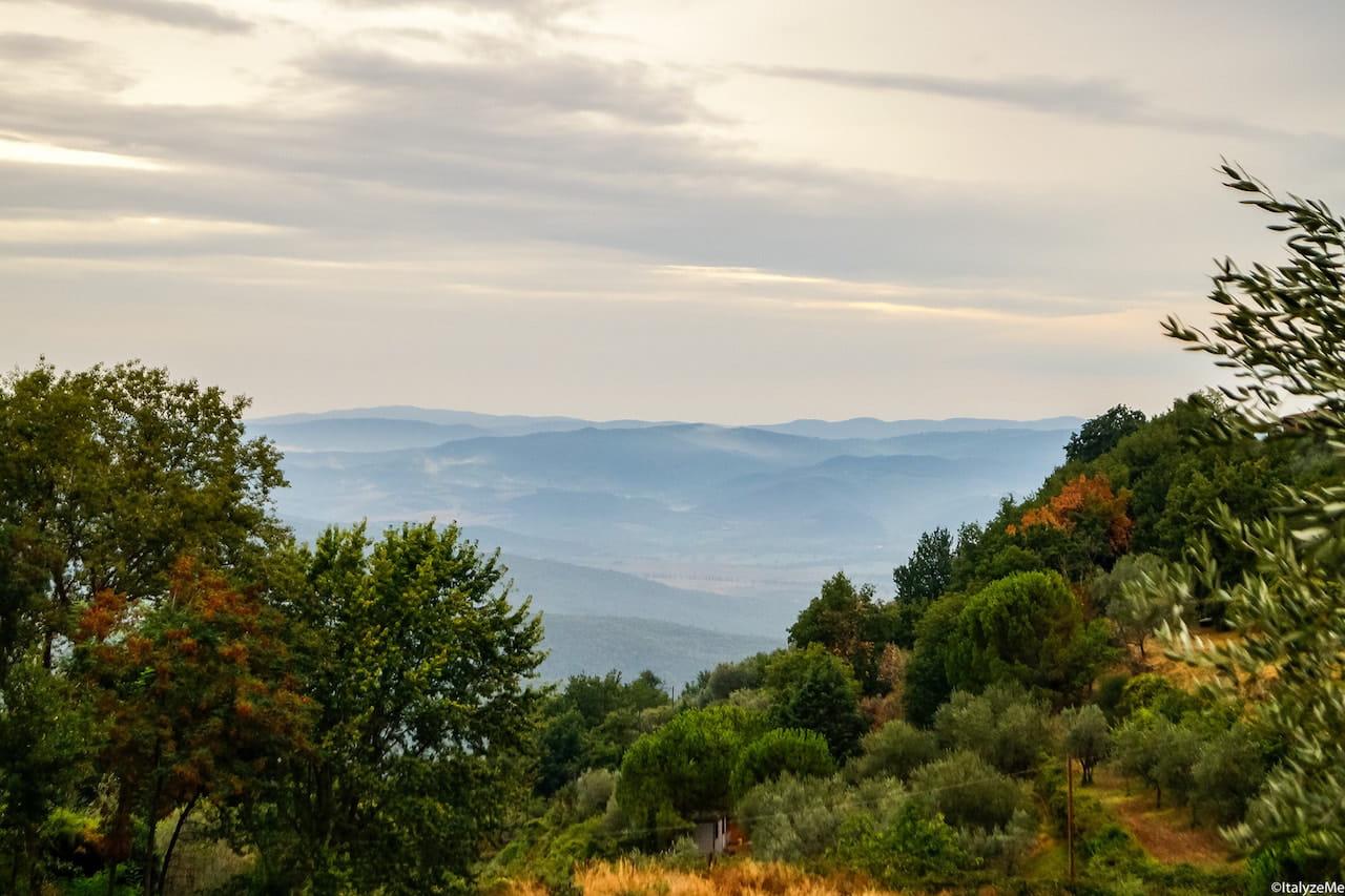 Panorama delle colline intorno alla città di Montalcino
