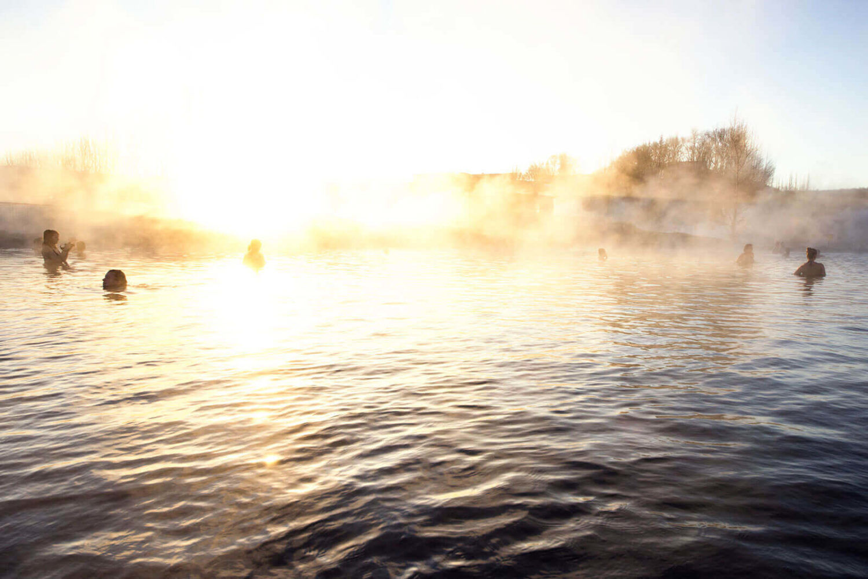 hot spring bathing iceland