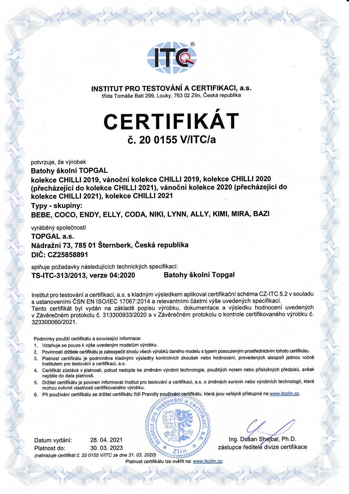 Topgal - ITC Certifikát 2021