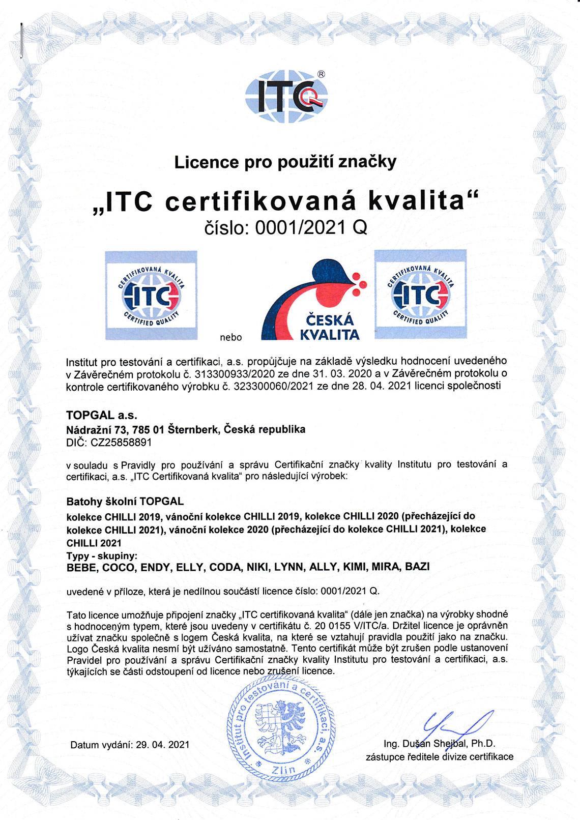 Topgal - ITC Licence 2021 - strana 1