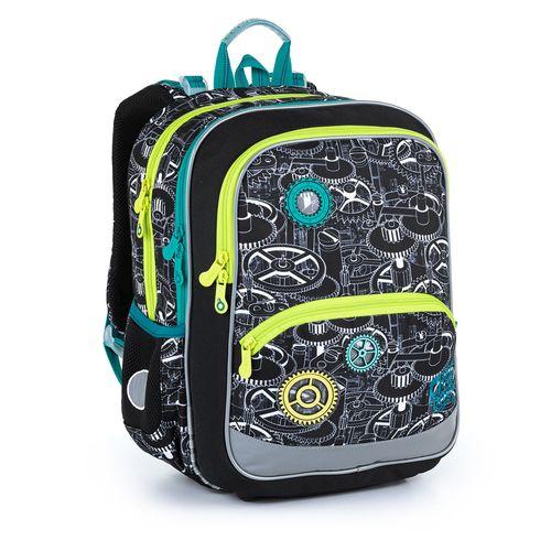 Lehký černý batoh s ozubenými kolečky do prvních tříd. BAZI 21014