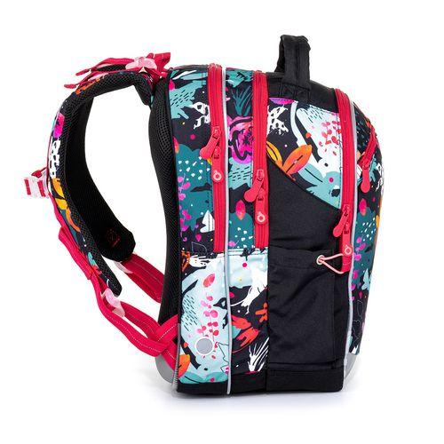 Czarny plecak szkolny z wzorem kwiatów COCO 21006